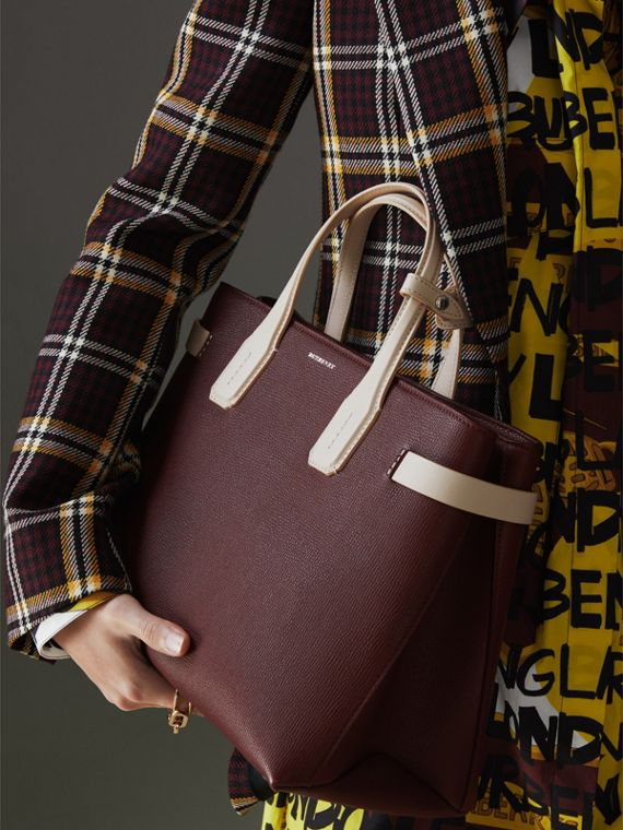 The Medium Banner in Two-tone Leather in Mahogany Red/limestone - Women | Burberry - cell image 3