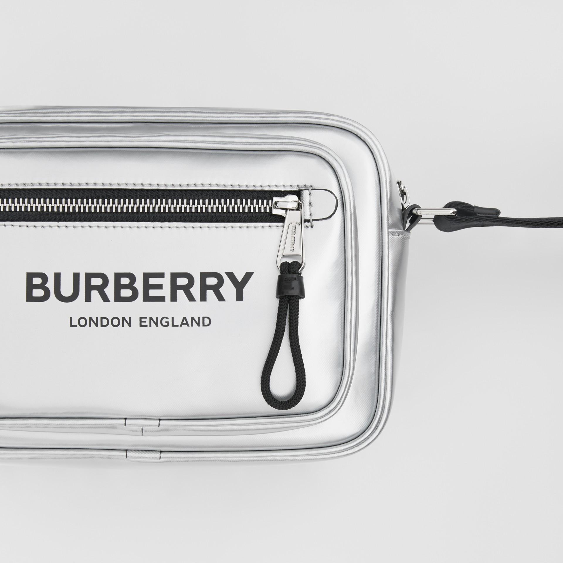 Metallic Coated Canvas Crossbody Bag in Silver - Men | Burberry - gallery image 1
