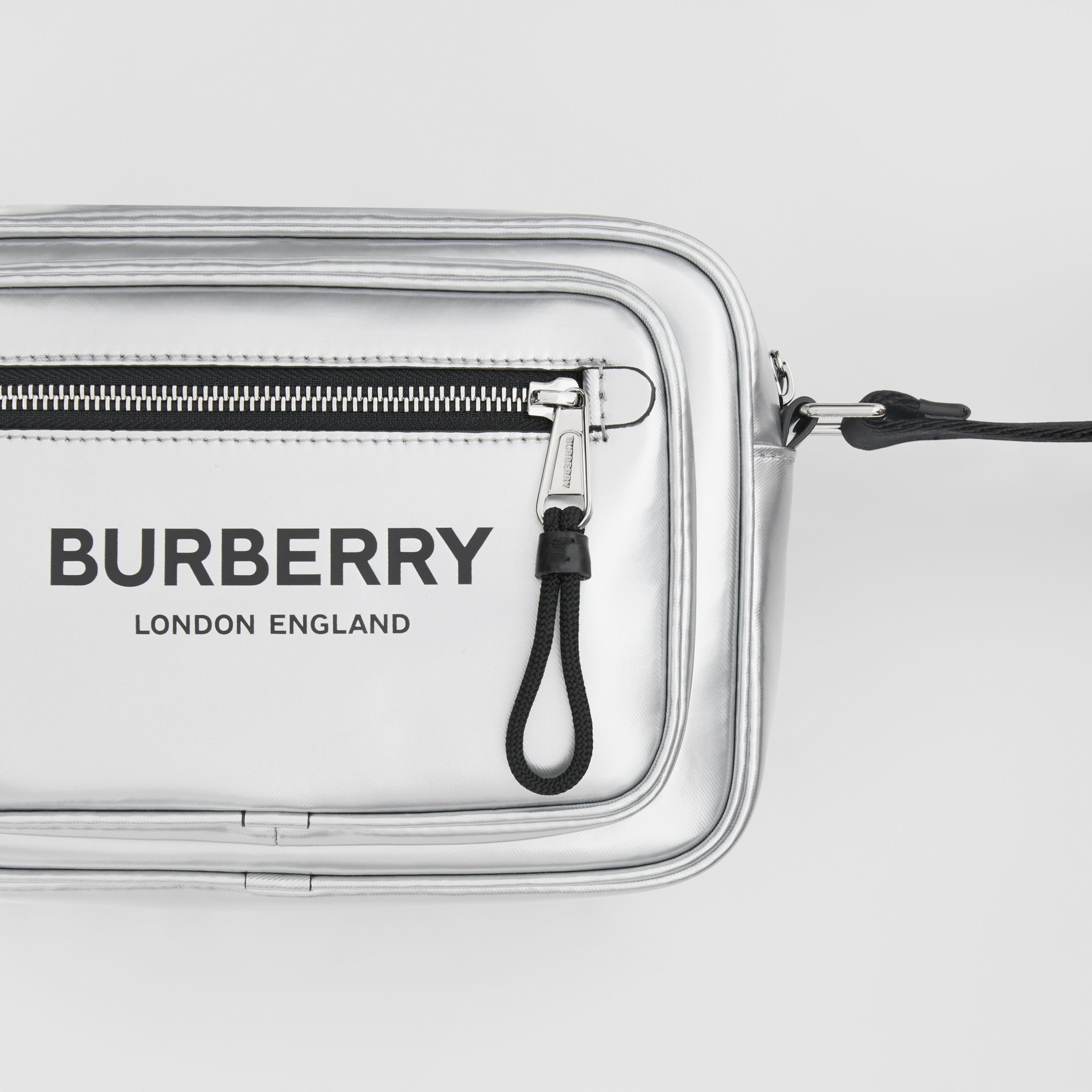 Metallic Coated Canvas Crossbody Bag in Silver - Men | Burberry Australia - 2