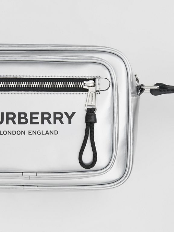 Metallic Coated Canvas Crossbody Bag in Silver - Men | Burberry - cell image 1