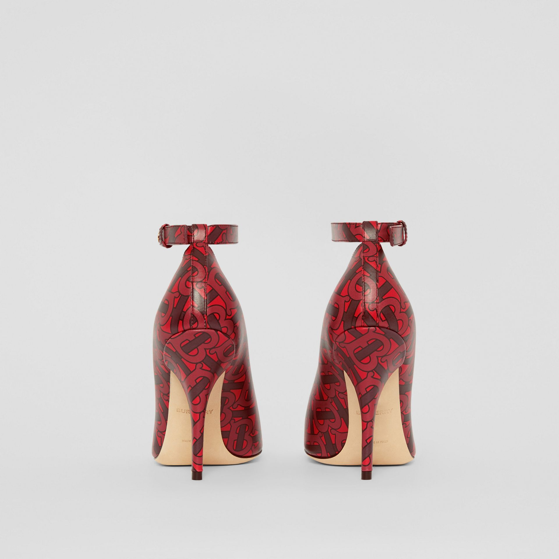 Triple Stud Monogram Print Leather Point-toe Pumps in Crimson - Women | Burberry - gallery image 4