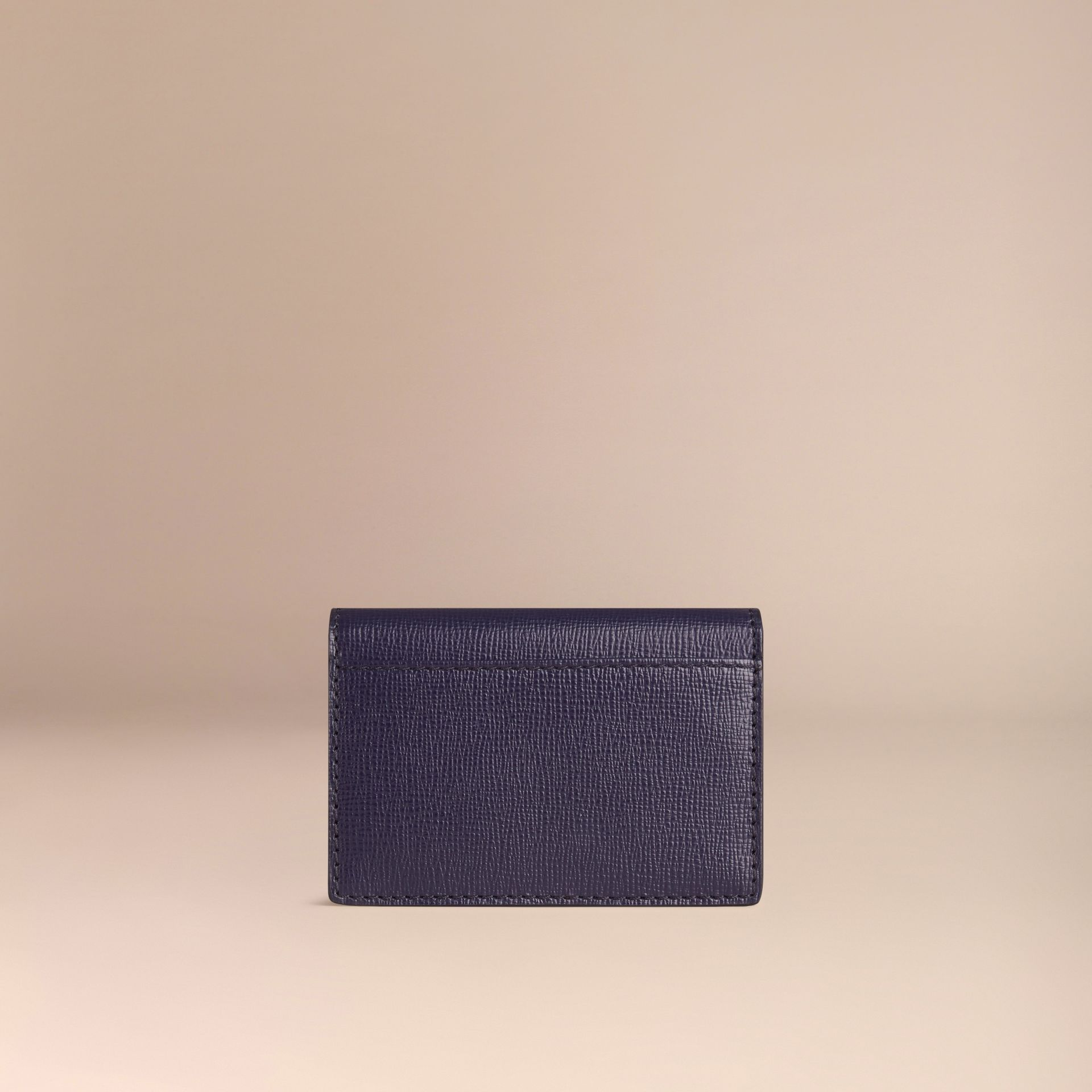 London Leather Folding Card Case in Dark Navy | Burberry - gallery image 3