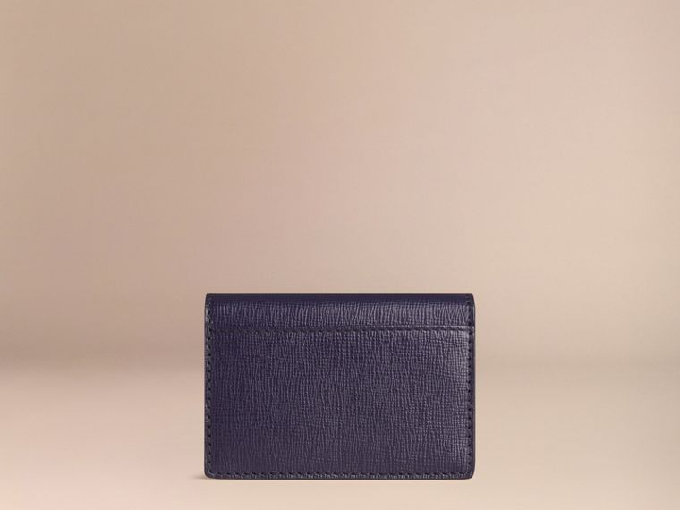 London Leather Folding Card Case in Dark Navy | Burberry - cell image 2