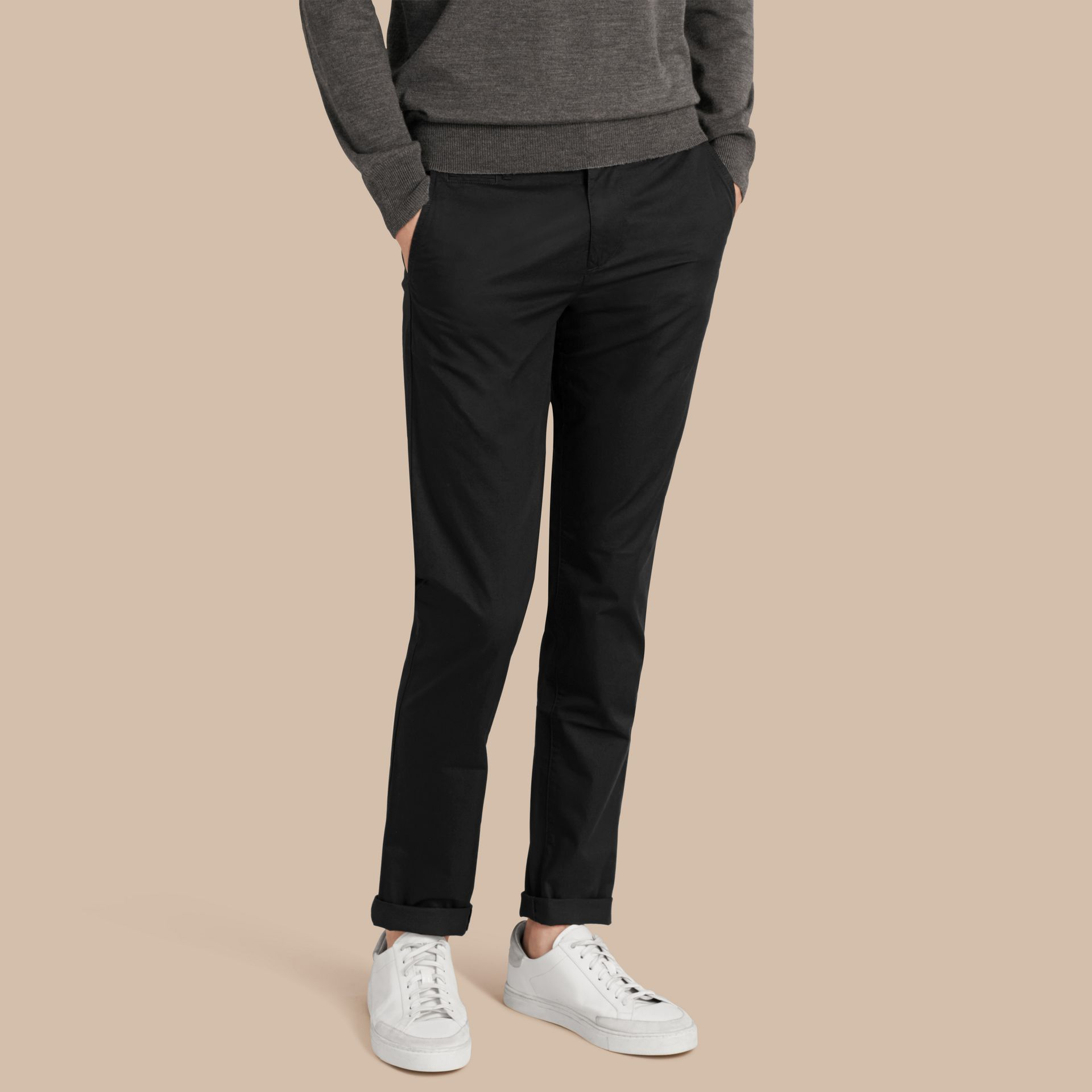 Slim Fit Cotton Chinos in Black - gallery image 1