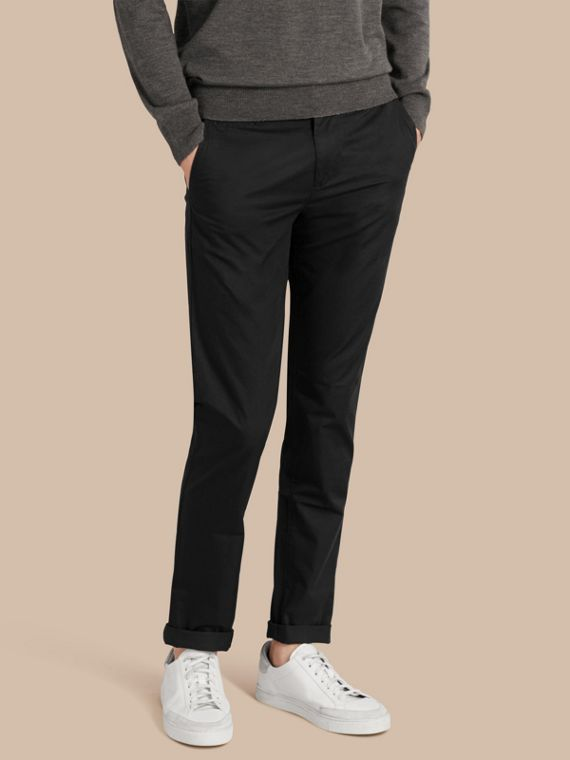 Slim Fit Cotton Chinos Black
