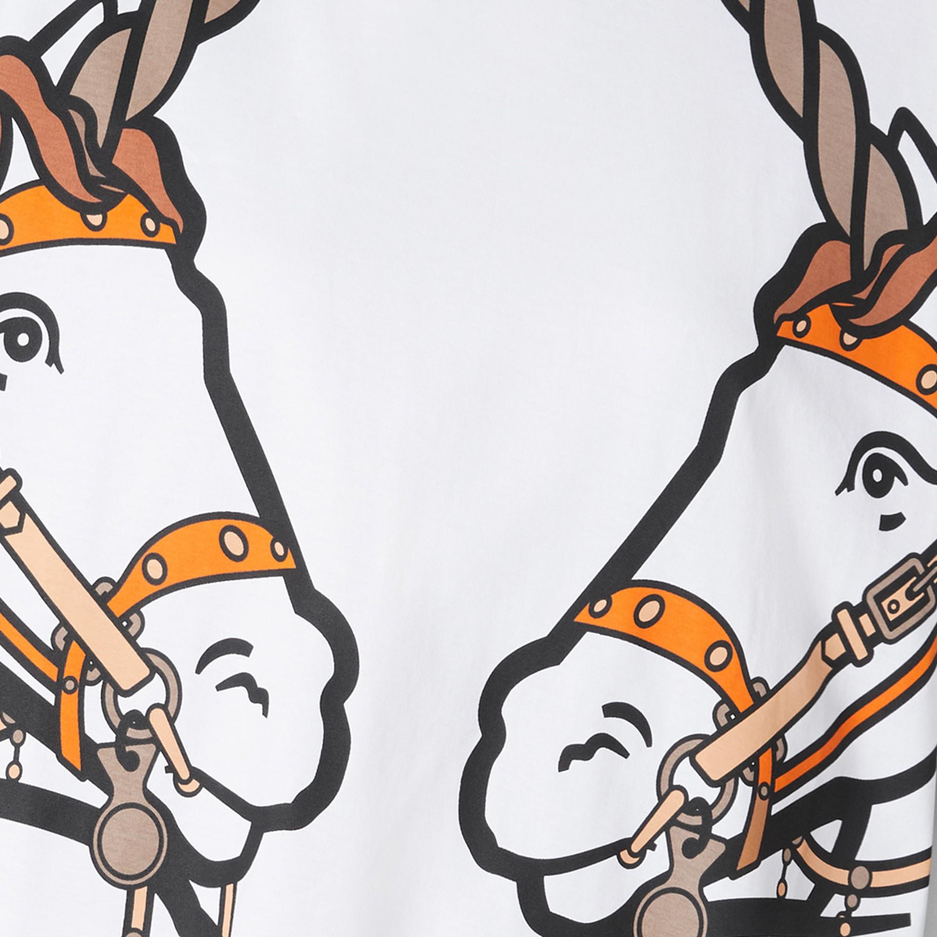 Unicorn Print Cotton Oversized T-shirt in White - Women   Burberry United Kingdom - gallery image 5