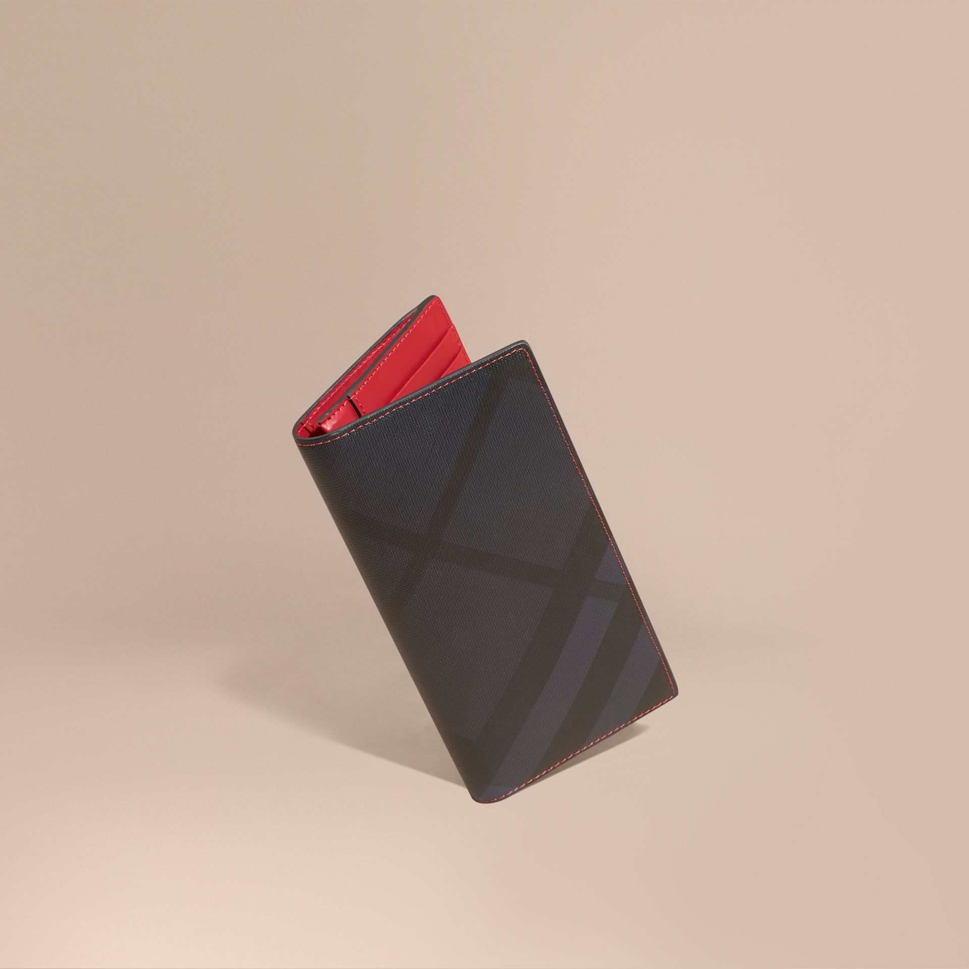 London Check and Leather Continental Wallet Parade Red - gallery image 1