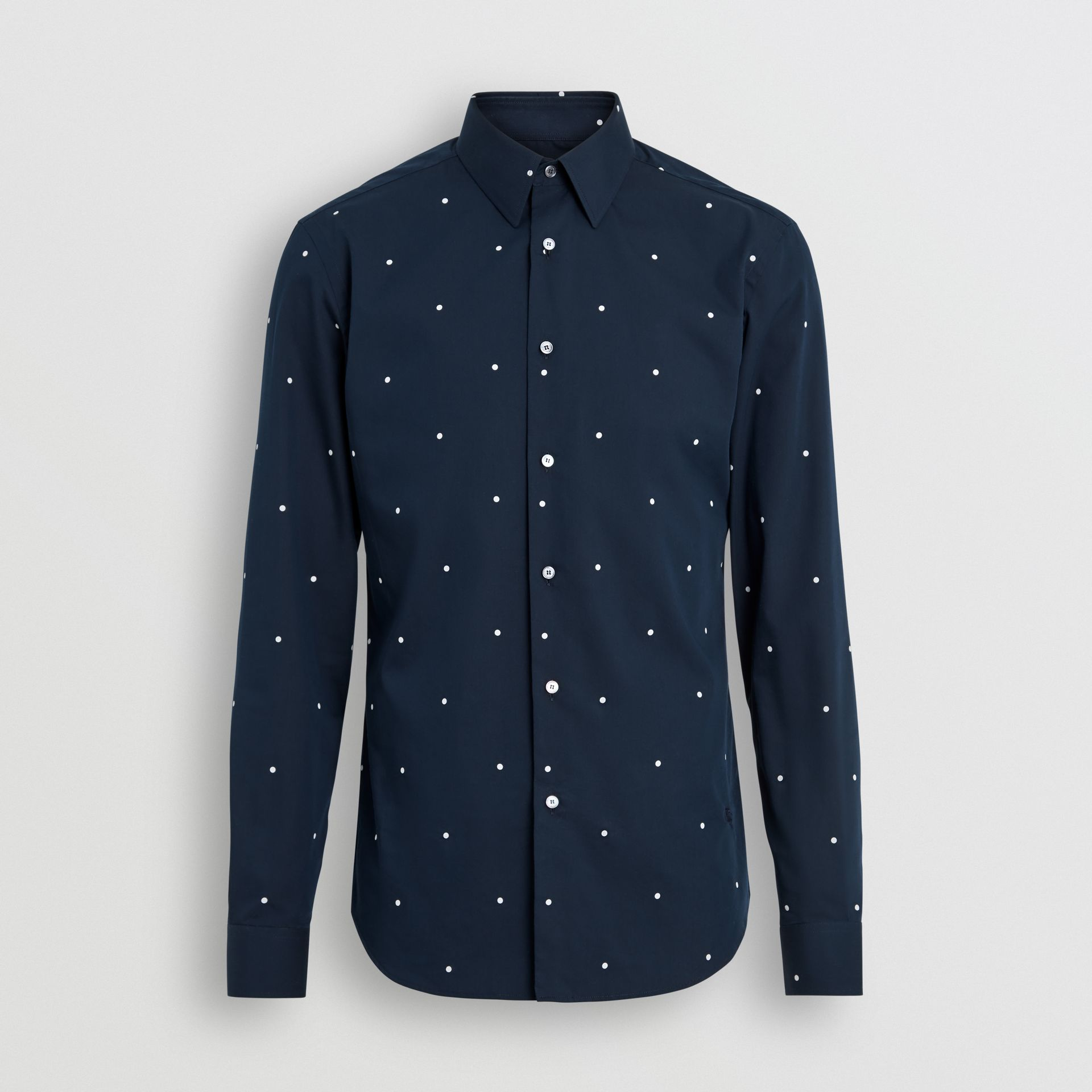 Slim Fit Polka Dot Cotton Poplin Shirt in Navy - Men | Burberry - gallery image 3