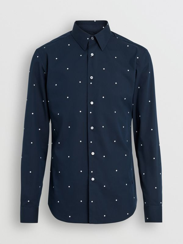 Slim Fit Polka Dot Cotton Poplin Shirt in Navy - Men | Burberry - cell image 3