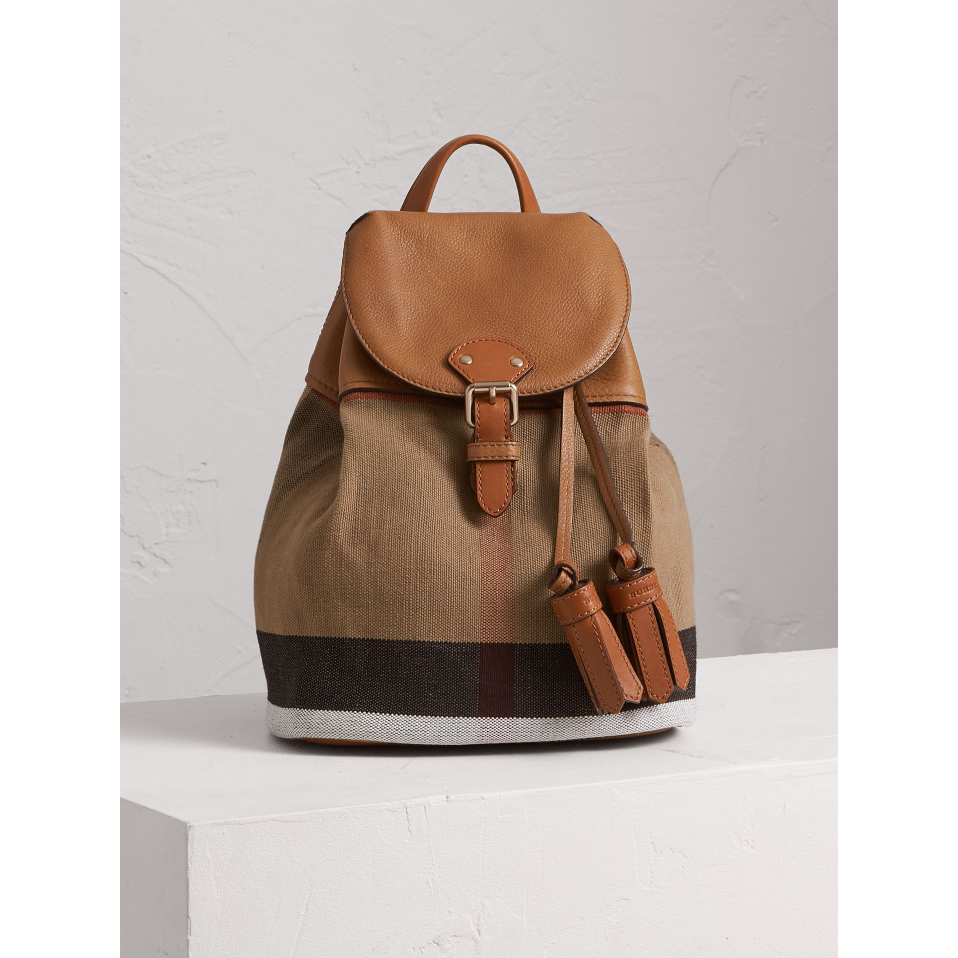Canvas Check Backpack in Sand - Girl | Burberry - gallery image 0