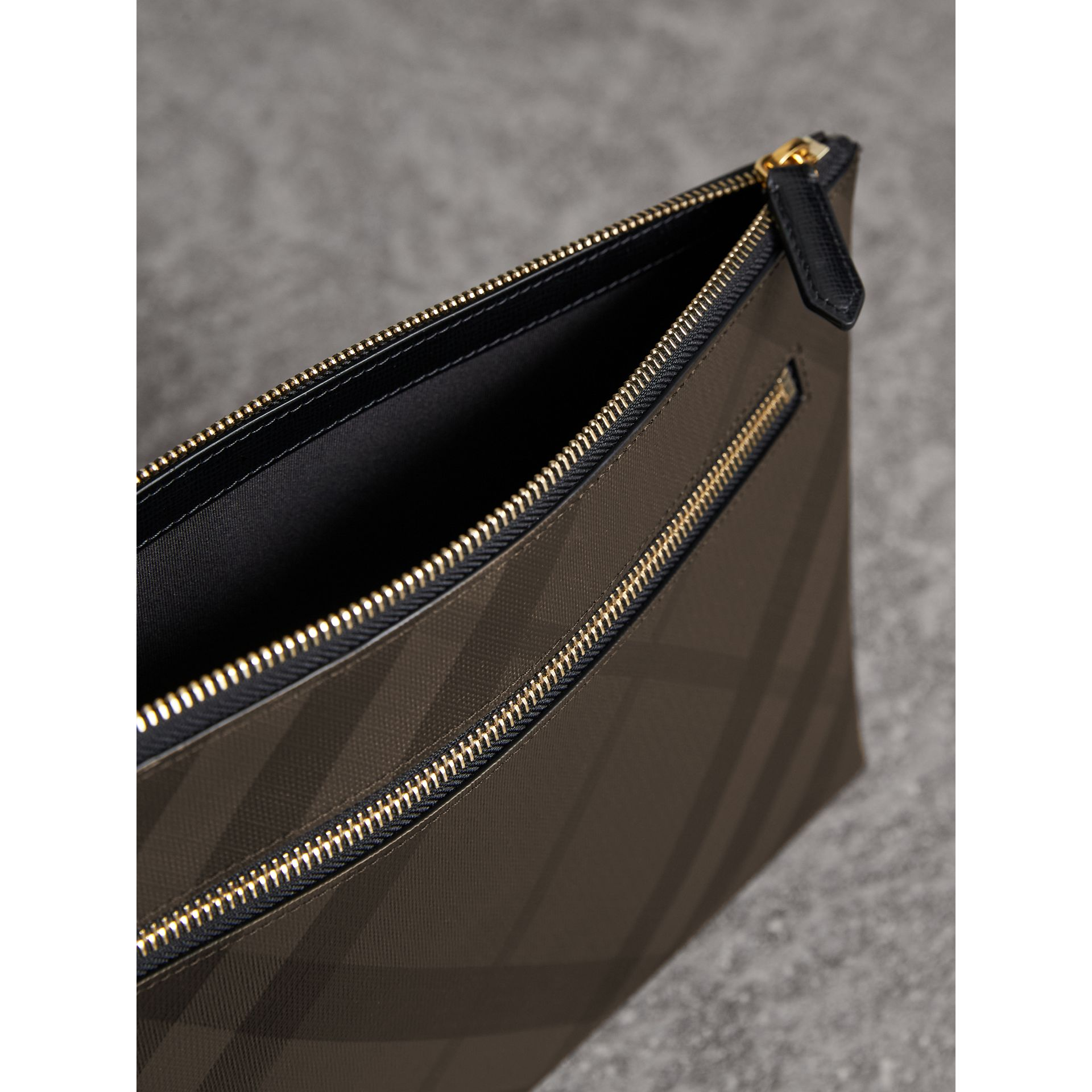 Large London Check Zip Pouch in Chocolate/black | Burberry - gallery image 4