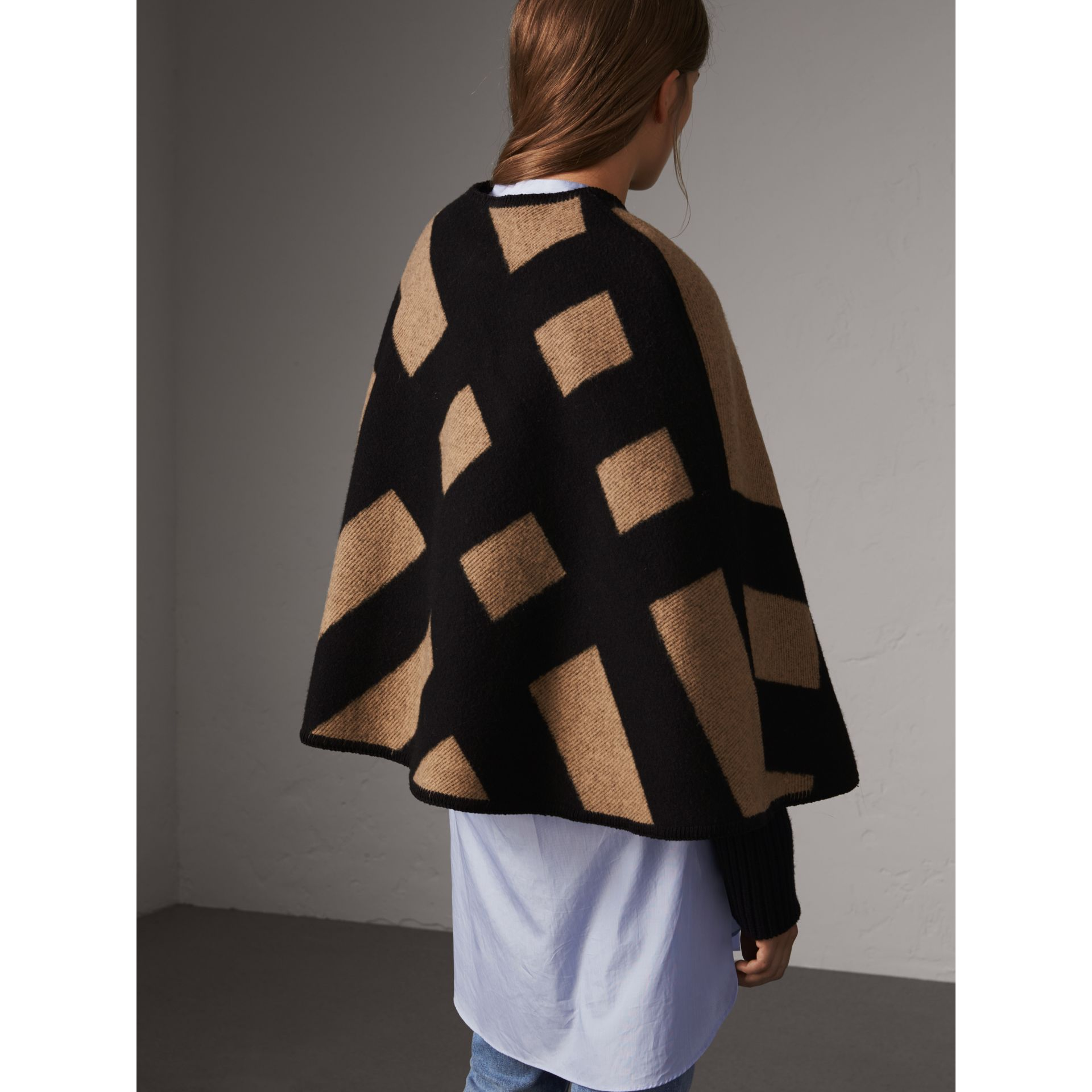 Check Wool Cashmere Blanket Cape in Camel/black - Women | Burberry - gallery image 3