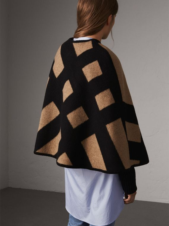 Check Wool Cashmere Blanket Cape in Camel/black - Women | Burberry - cell image 2