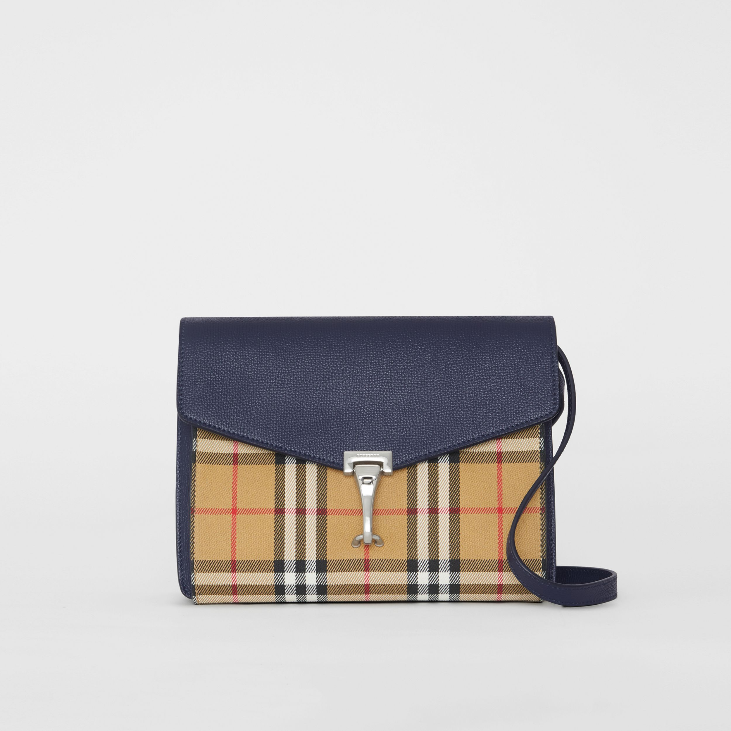 Small Vintage Check and Leather Crossbody Bag in Regency Blue | Burberry - 1