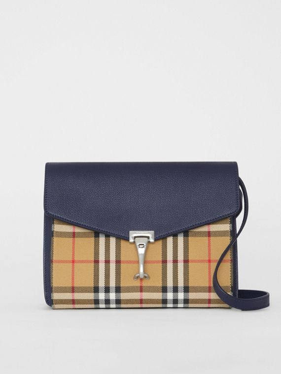 Small Vintage Check and Leather Crossbody Bag in Regency Blue