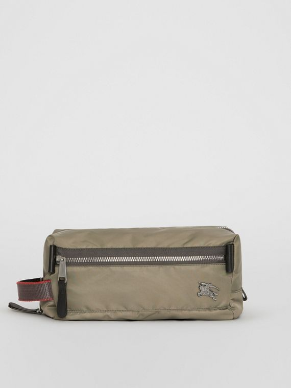 EKD Aviator Nylon and Leather Pouch in Celadon