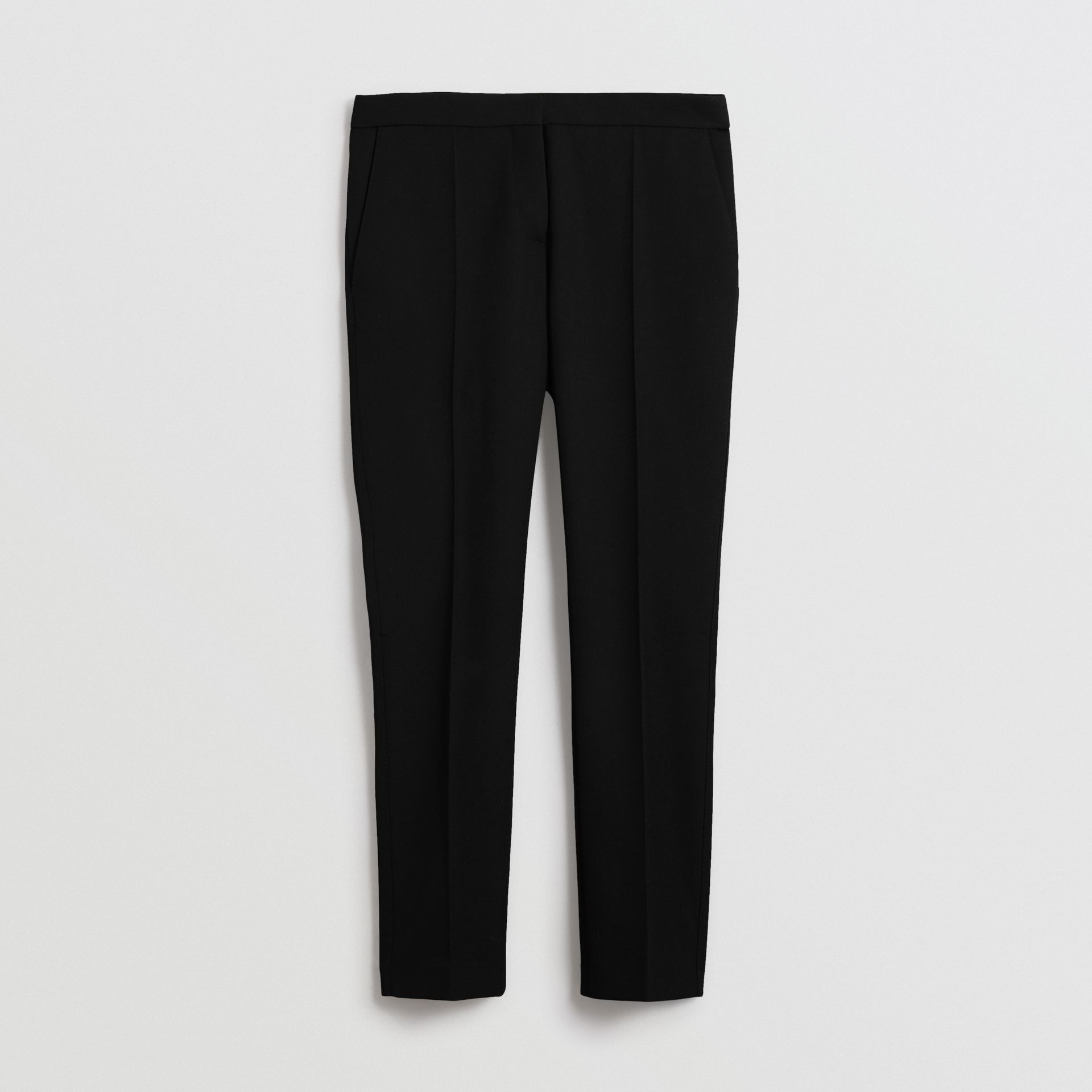 Straight Fit Wool Tailored Trousers in Black - Women | Burberry Hong Kong - gallery image 3