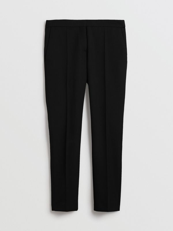 Straight Fit Wool Tailored Trousers in Black - Women | Burberry - cell image 3