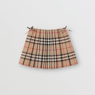 a769bc5e81 Vintage Check Pleated Skirt in Archive Beige - Children | Burberry