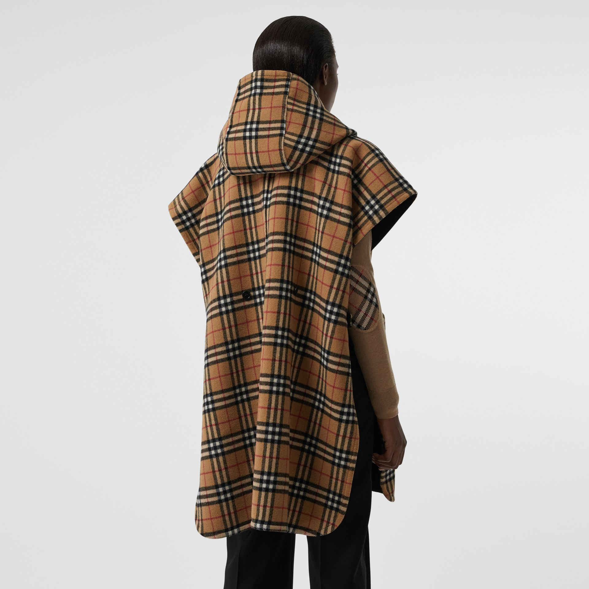Reversible Vintage Check Hooded Poncho in Black - Women | Burberry - gallery image 2