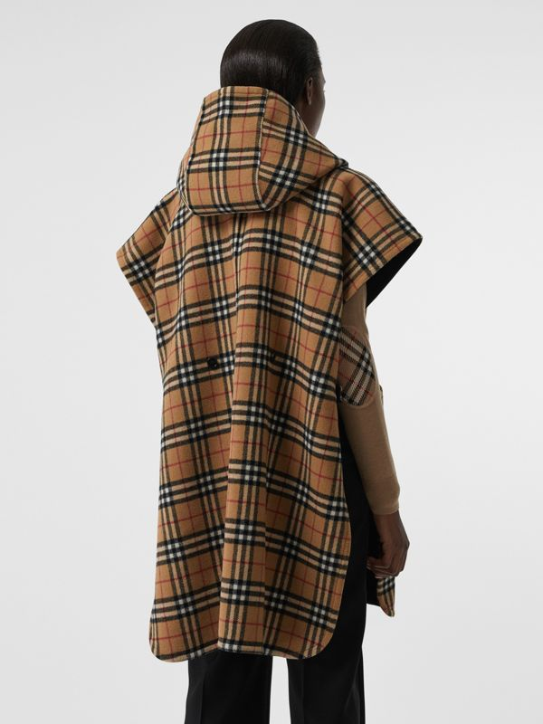 Reversible Vintage Check Hooded Poncho in Black - Women | Burberry - cell image 2