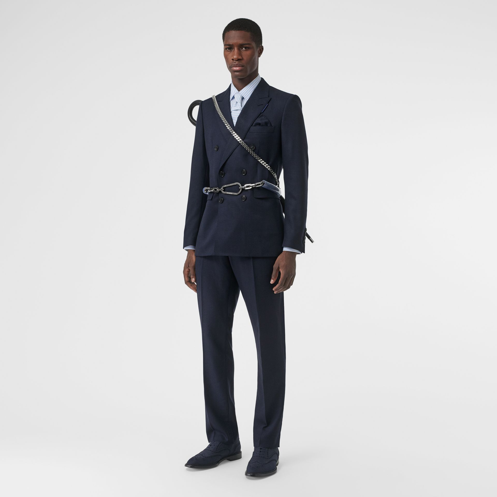 English Fit Birdseye Wool Cashmere Suit in Navy Blue | Burberry - gallery image 0