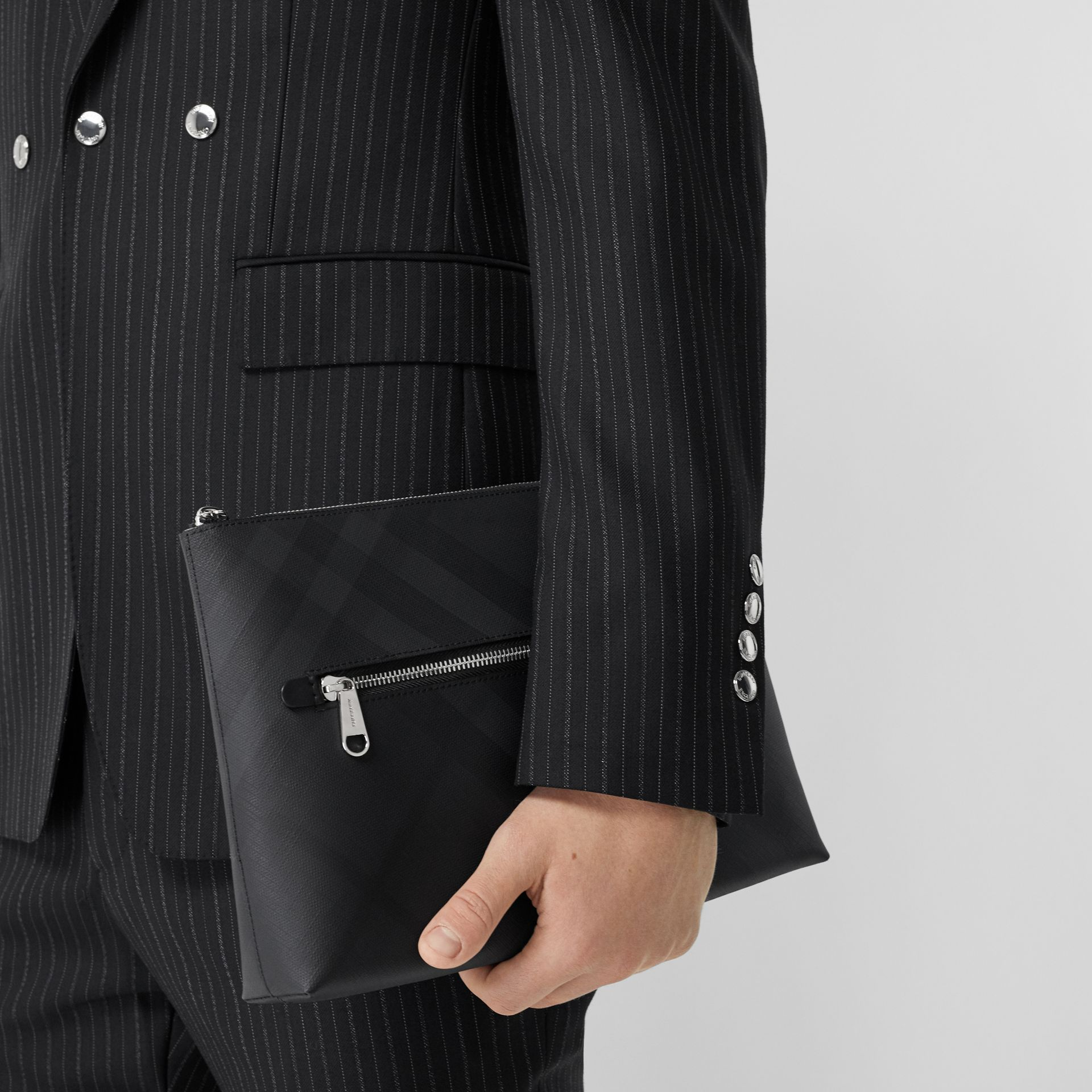 London Check Zip Pouch in Dark Charcoal | Burberry - gallery image 2