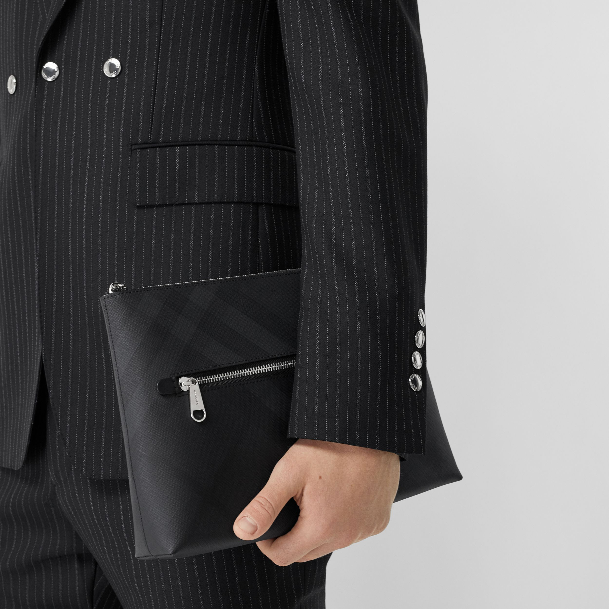 London Check Zip Pouch in Dark Charcoal - Men | Burberry - 3