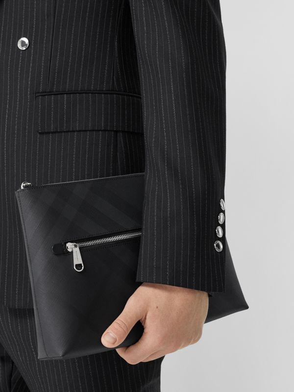 London Check Zip Pouch in Dark Charcoal - Men | Burberry - cell image 2
