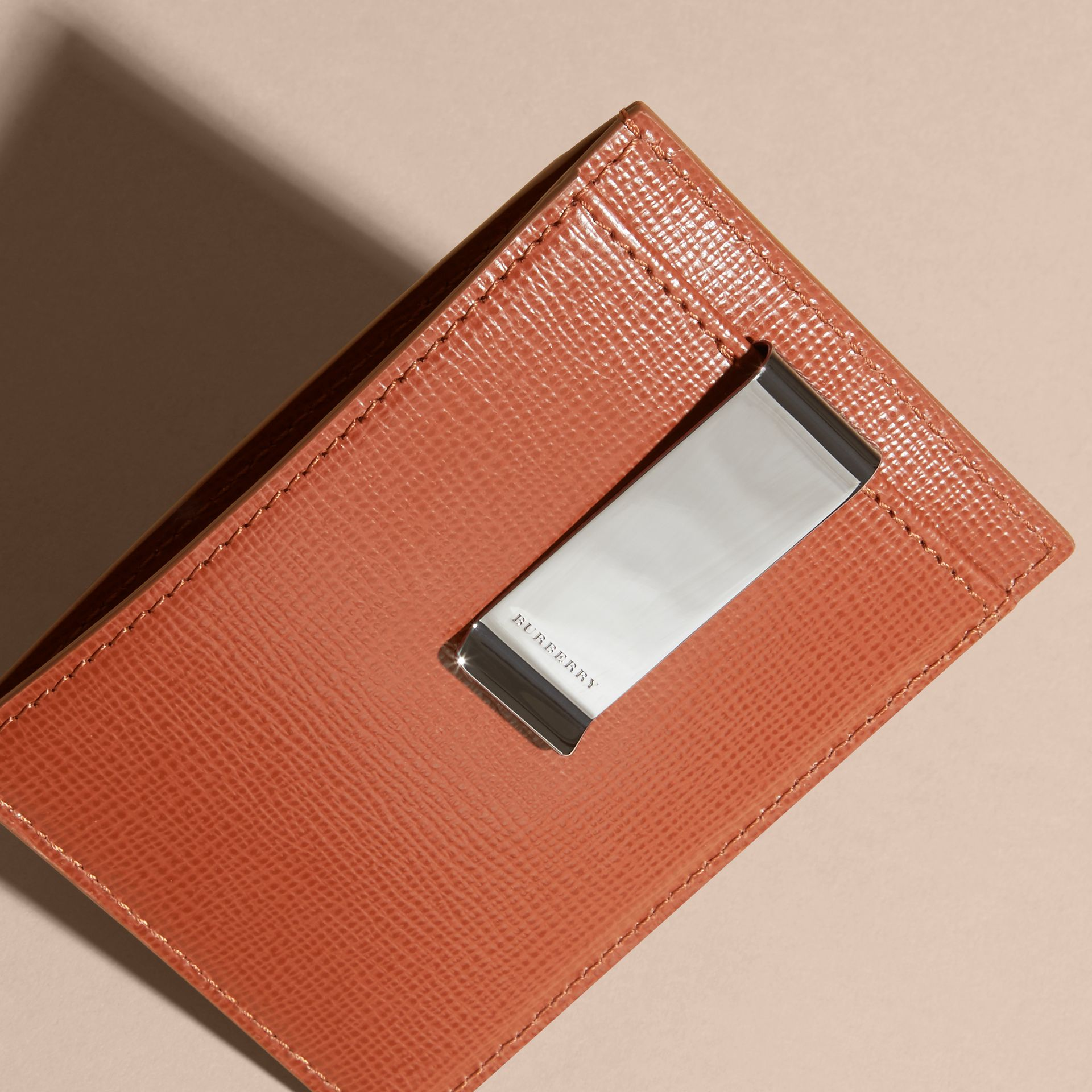 London Leather Money Clip Card Case in Burnt Sienna - gallery image 4