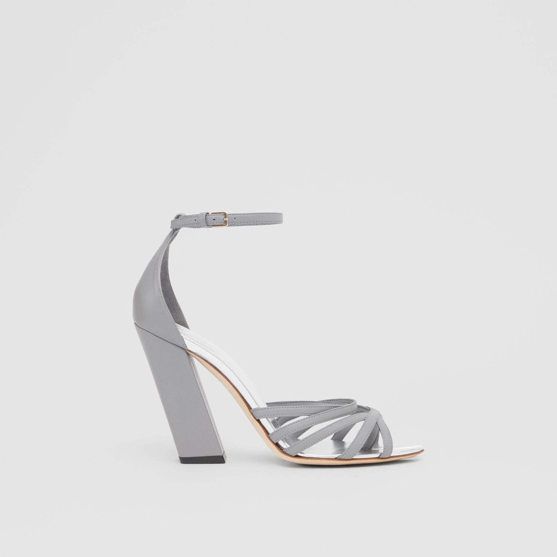 Split-toe Detail Leather Sandals in Cloud Grey - Women | Burberry Canada - gallery image 5