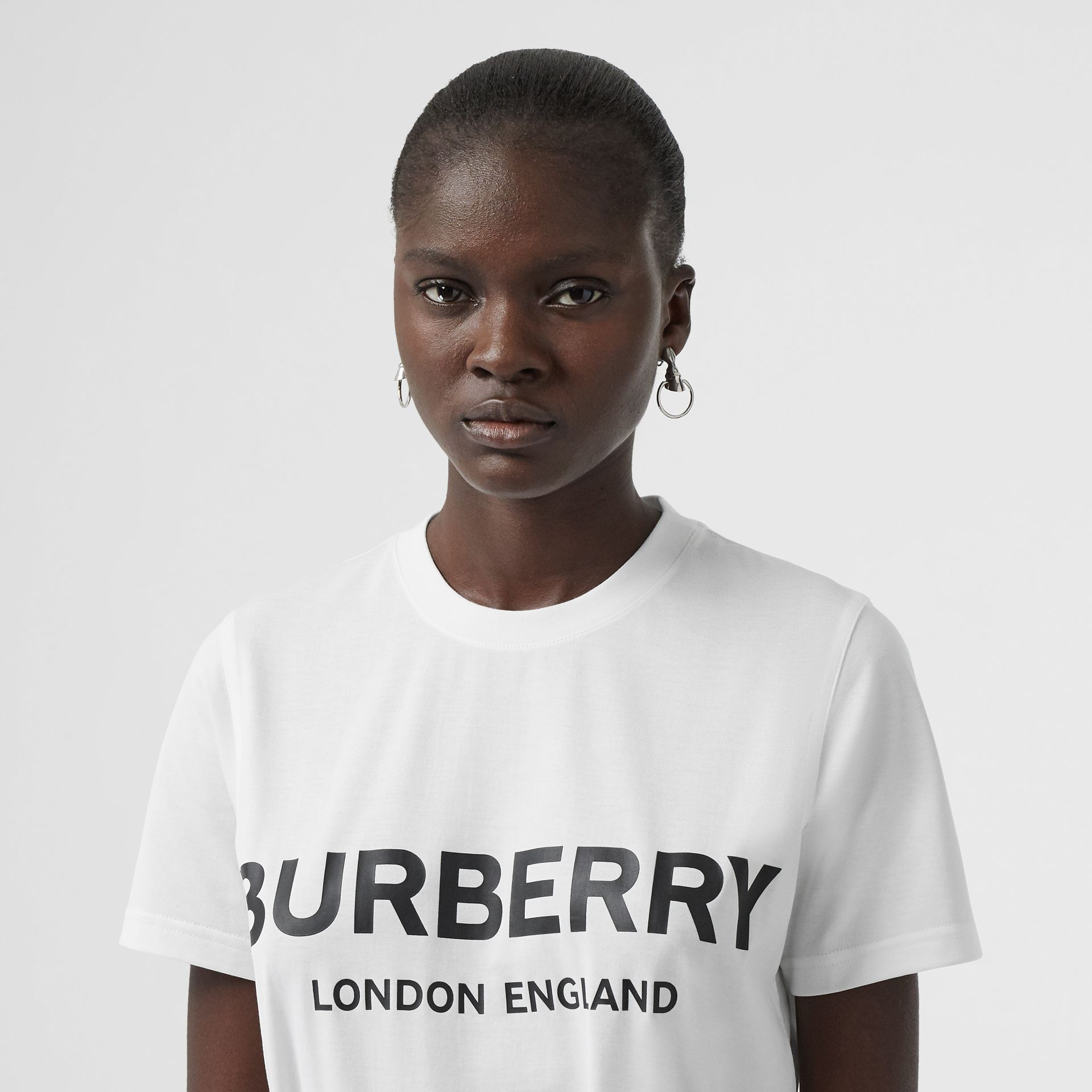 Logo Print Cotton T-shirt in White - Women | Burberry Australia - gallery image 1