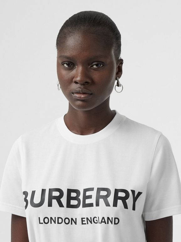 Logo Print Cotton T-shirt in White - Women | Burberry Australia - cell image 1