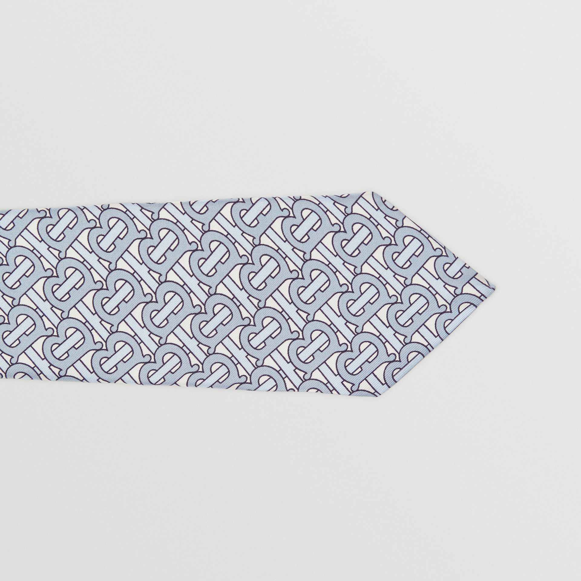 Classic Cut Monogram Print Silk Tie in Pale Blue - Men | Burberry - gallery image 1