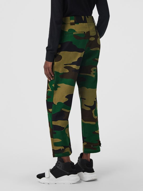 Camouflage Print Ramie Cotton Cargo Trousers in Forest Green - Women | Burberry - cell image 2