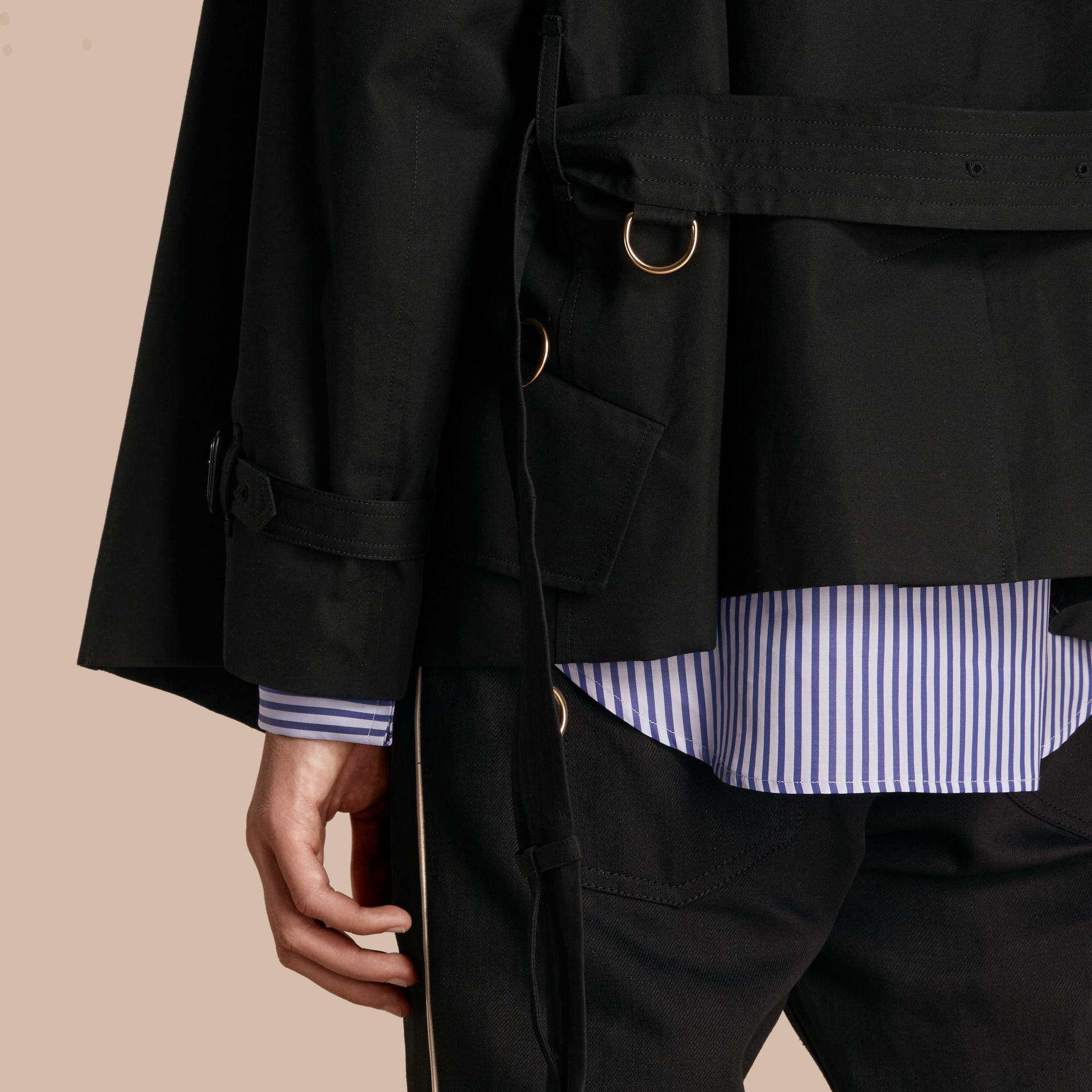 Black Cotton Gabardine Deconstructed Trench Jacket - gallery image 6