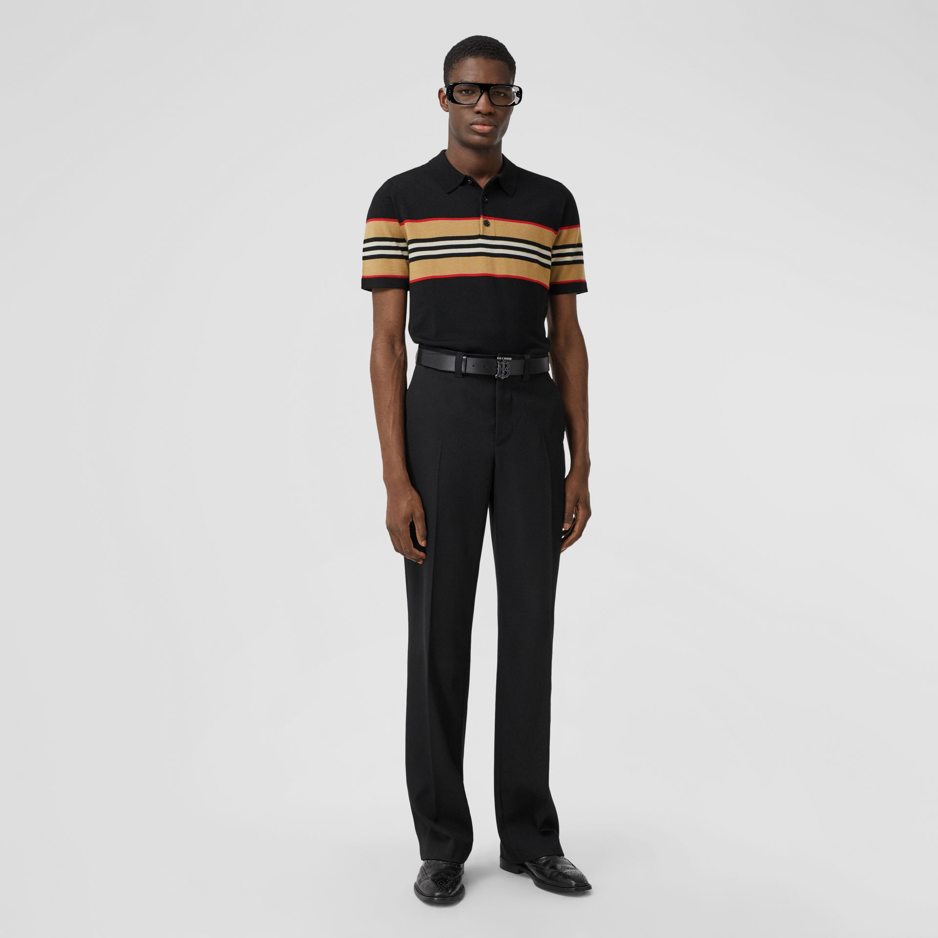 Icon Stripe Detail Merino Wool Polo Shirt in Black - Men | Burberry - gallery image 4