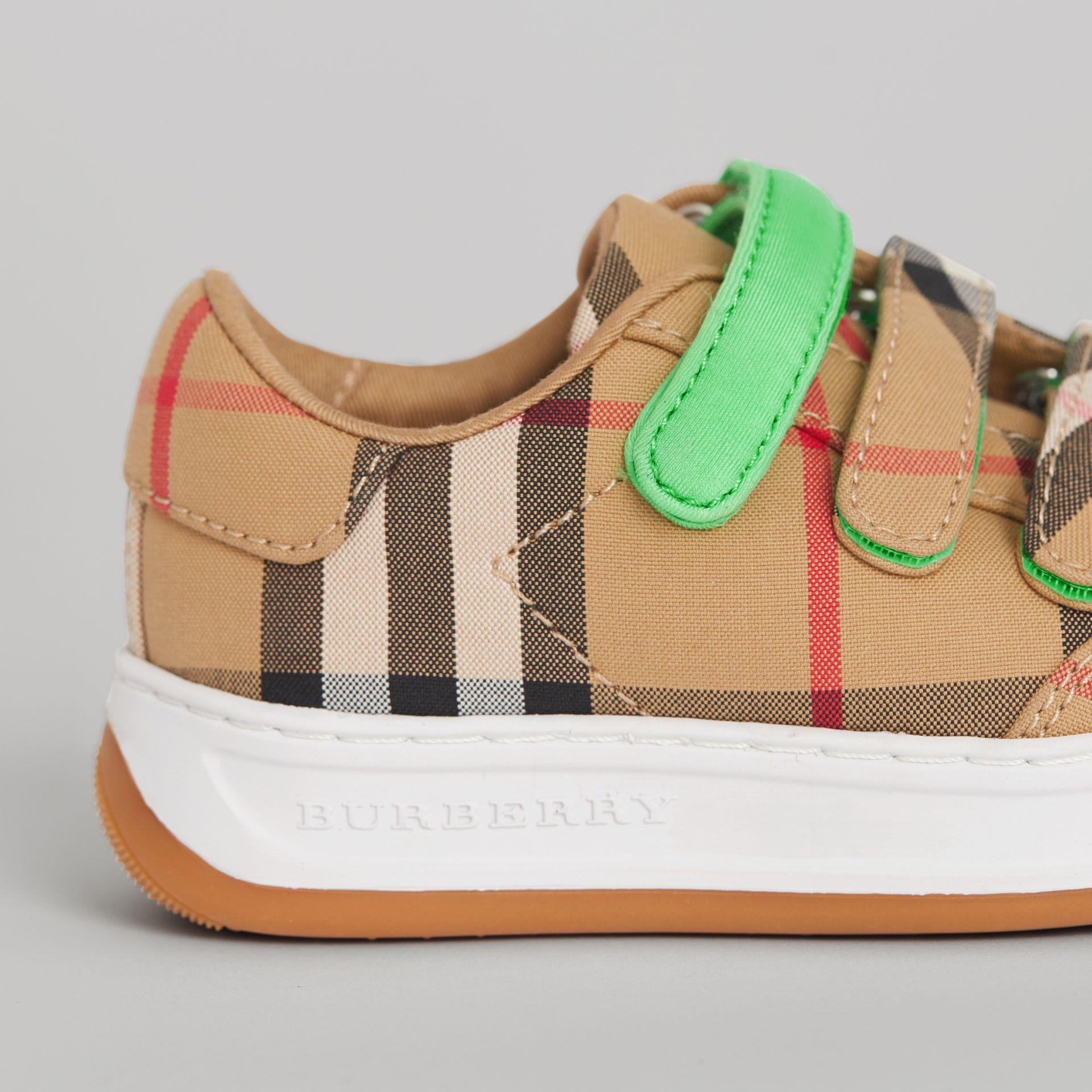 Vintage Check Sneakers in Antique Yellow/neon Green - Children | Burberry Singapore - gallery image 1