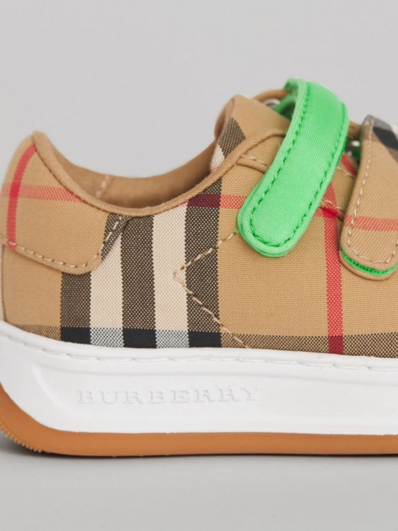 Vintage Check Sneakers in Antique Yellow/neon Green - Children | Burberry - cell image 1