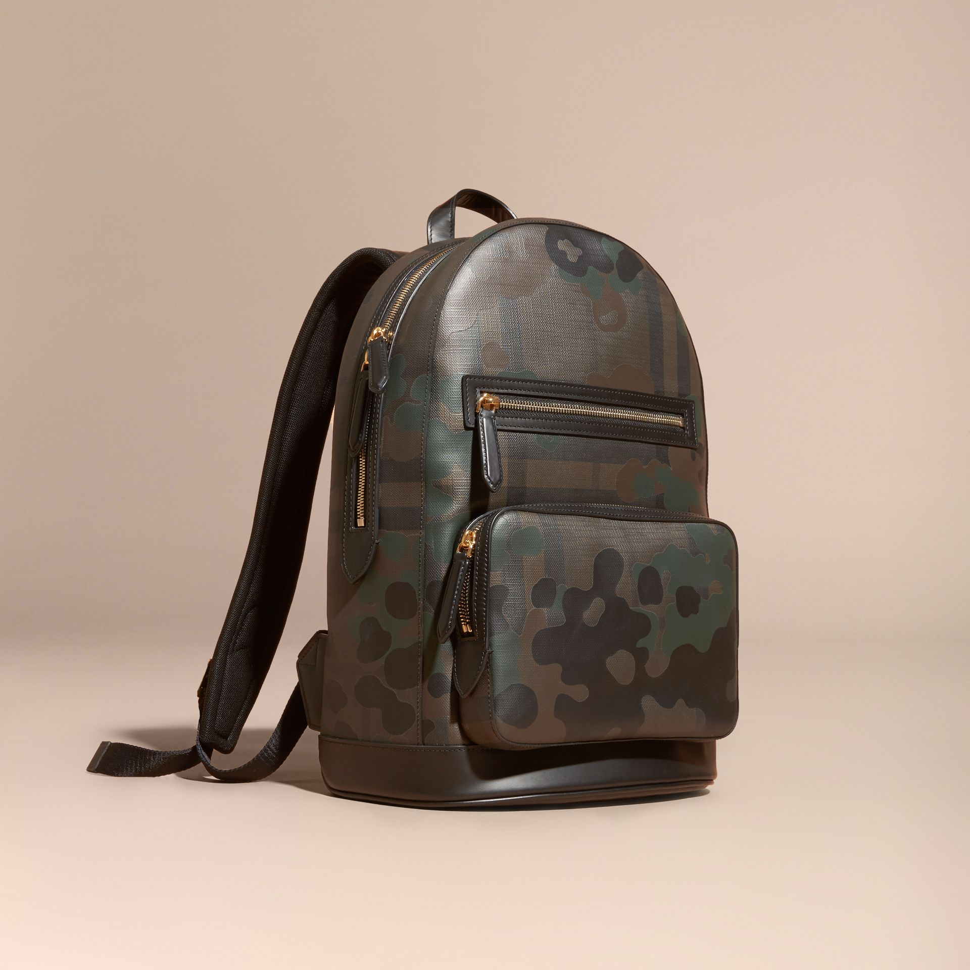 Chocolate Camouflage Print London Check Backpack - gallery image 1
