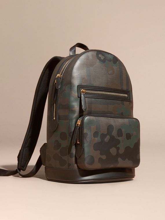 Camouflage Print London Check Backpack