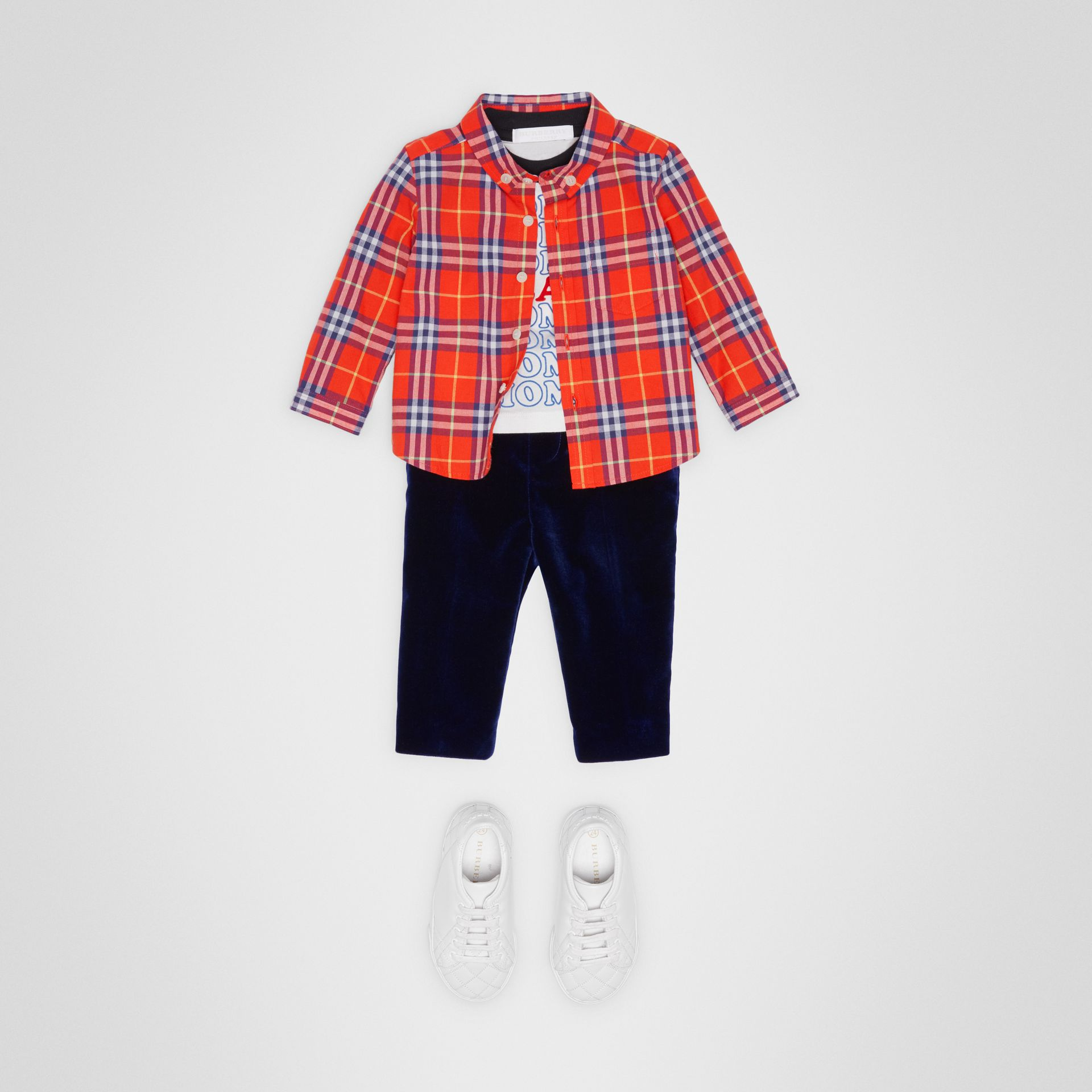 Button-down Collar Check Cotton Shirt in Orange Red - Children | Burberry - gallery image 2