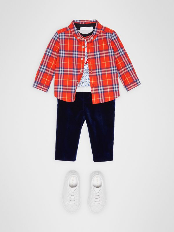 Button-down Collar Check Cotton Shirt in Orange Red - Children | Burberry Australia - cell image 2