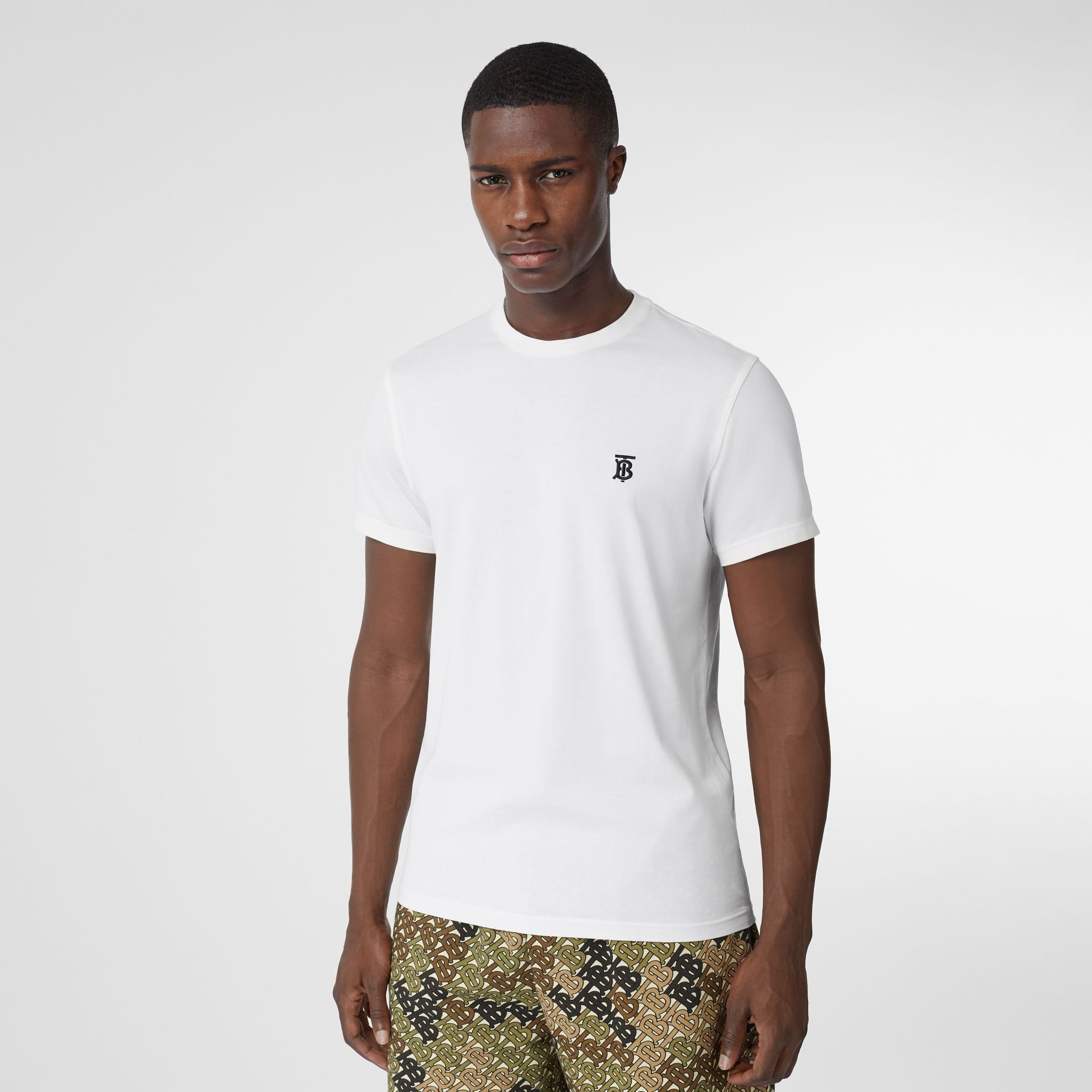 Monogram Motif Cotton T-shirt in White - Men | Burberry - gallery image 0