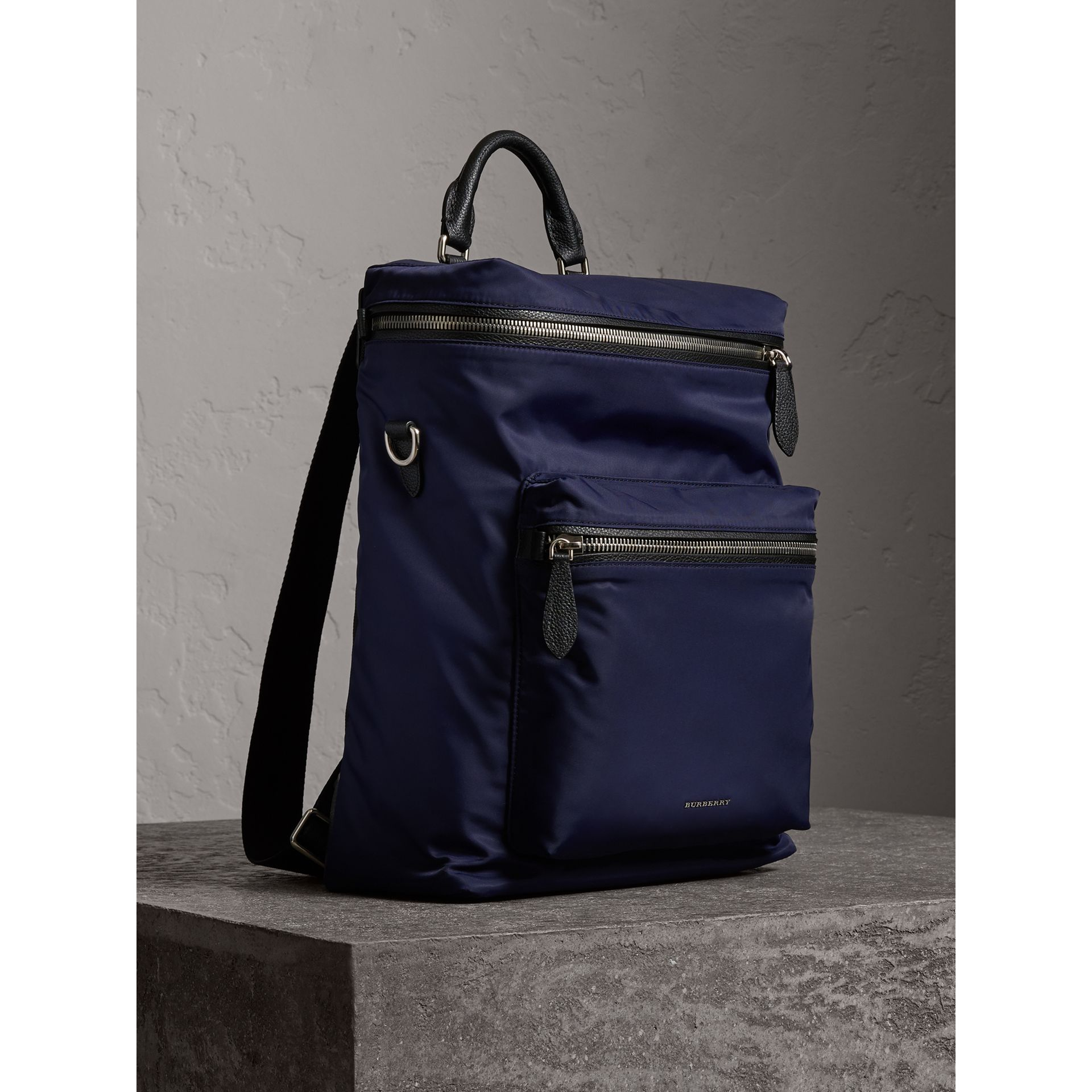 Zip-top Leather Trim Showerproof Backpack in Dark Navy - Men | Burberry United States - gallery image 6