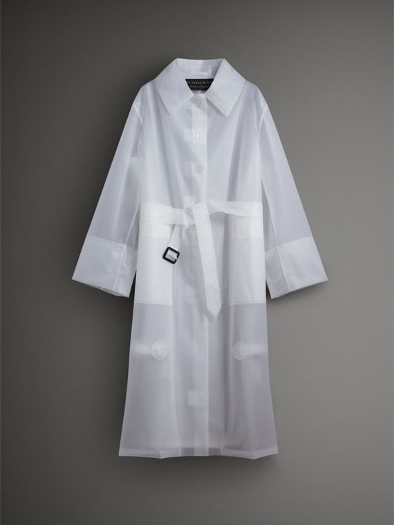 Soft-touch Plastic Oversized Car Coat in White