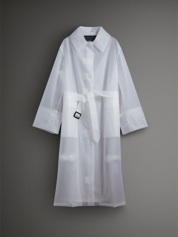 Soft-touch Plastic Oversized Car Coat in White - Women | Burberry United Kingdom - cell image 3