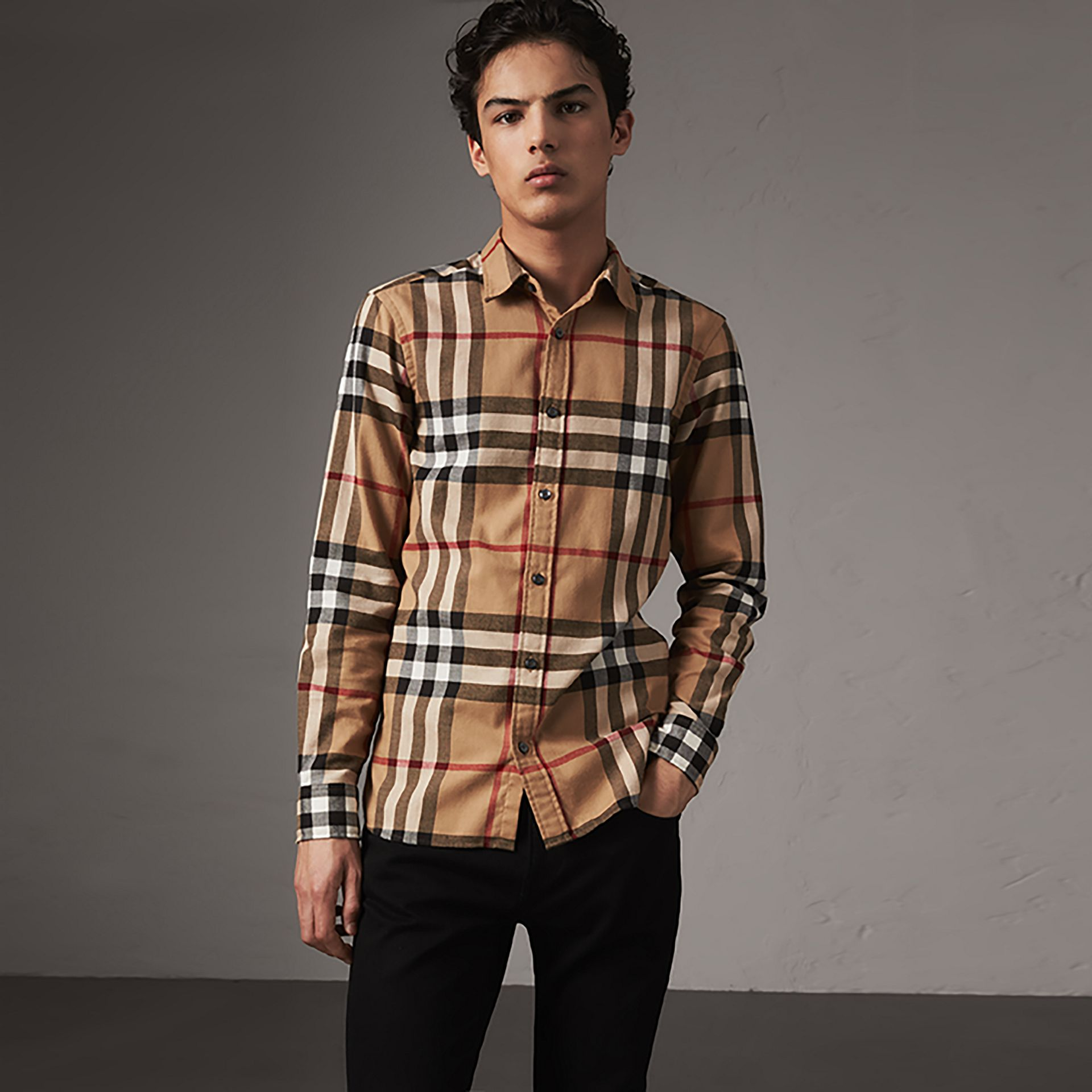 Check Cotton Flannel Shirt in Camel - Men | Burberry - gallery image 0