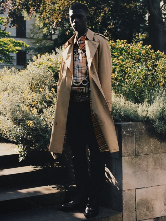 Archive Scarf Print Harrington Jacket in Antique Yellow - Men | Burberry Singapore - cell image 1