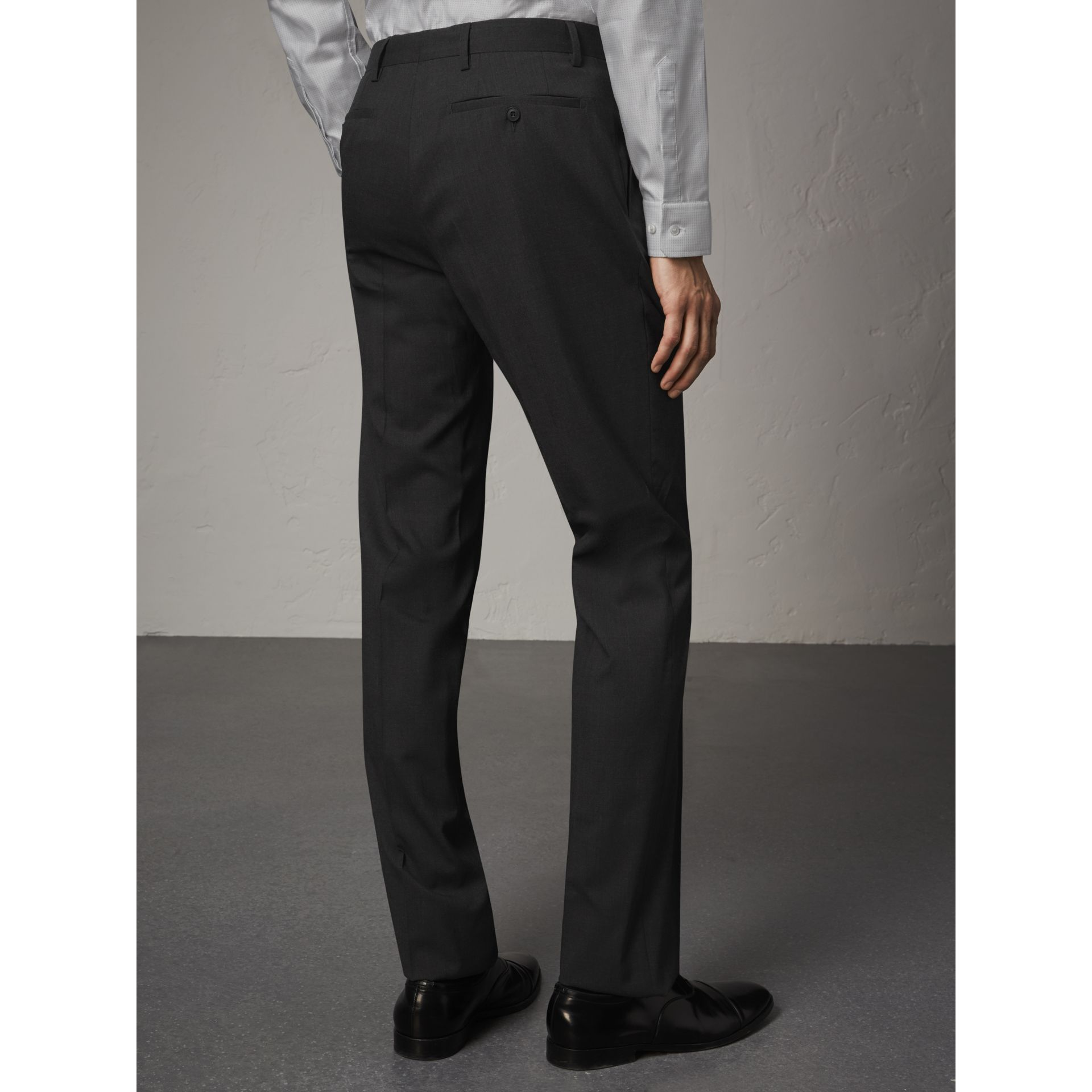 Modern Fit Wool Trousers in Charcoal - Men | Burberry Singapore - gallery image 3